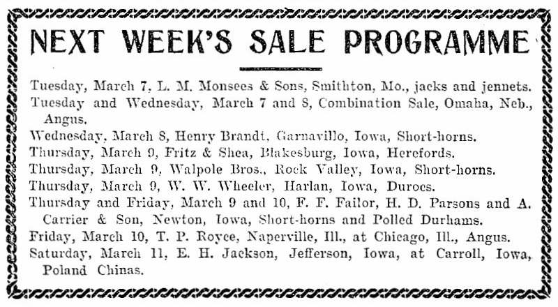 Homestead - Thursday, March 02, 1905 - Sale Programme