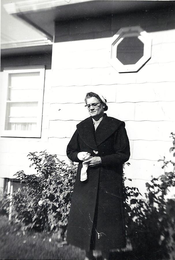 Photograph of Anna Jorgensen (Morrison) Peterson — about 1955 — in Sidney, Montana